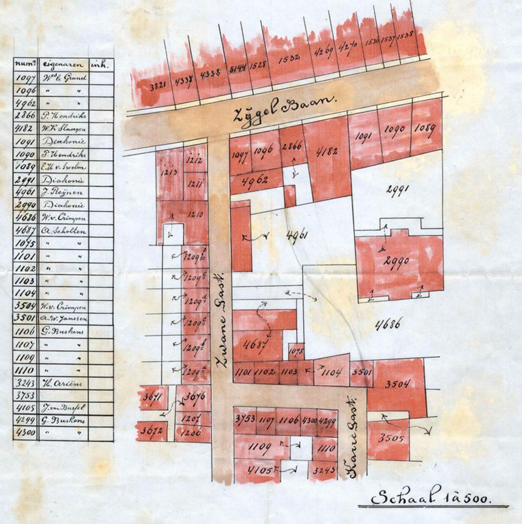 Kadastrale kaart aan de Zeigelbaan, de Zwanengas en de Karrengas.